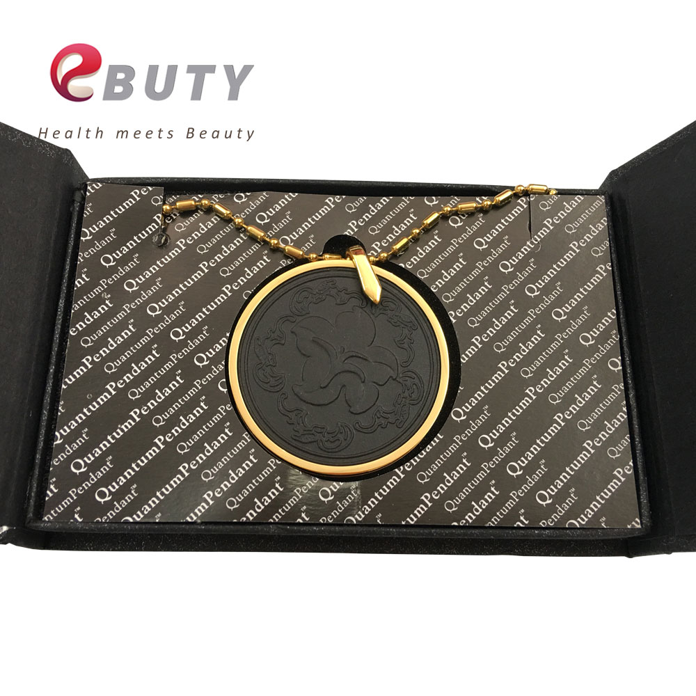 EBUTY Glod Pendant Quantum Energy Black Lava Tourmaline Stone Taiji Style 3000cc Ions with Stainless Steel Chain Flower Design