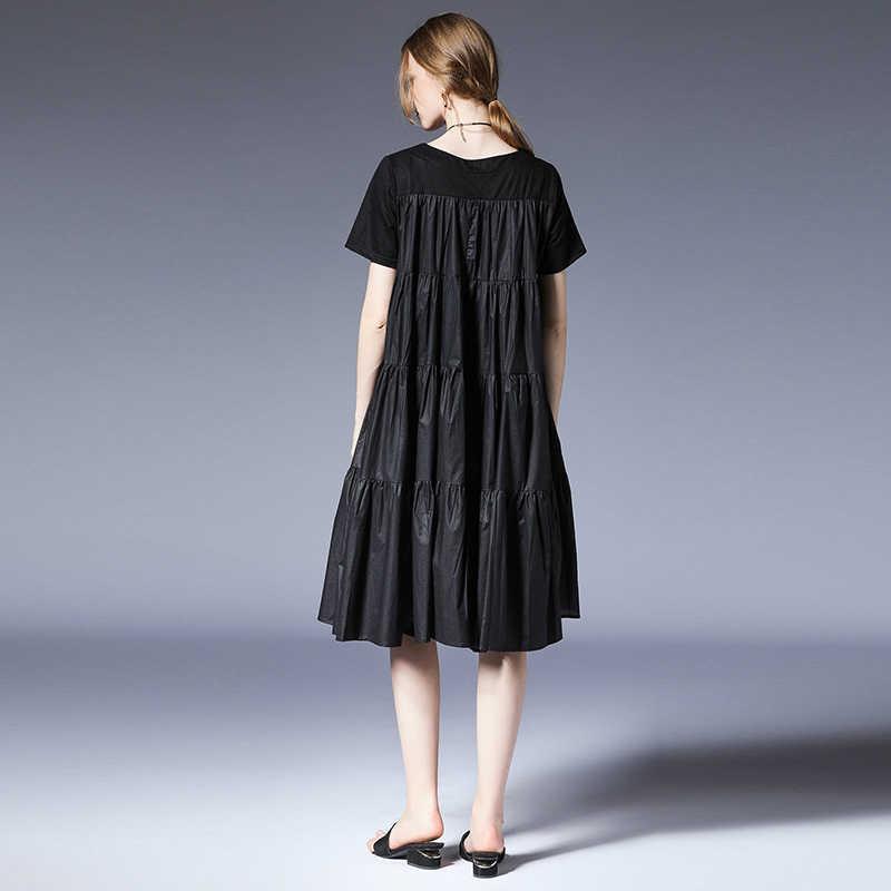 af4d05838d7 ... Women Plus size dresses casual loose Gauffer Elegant dress Large size  ladies  crew neck high