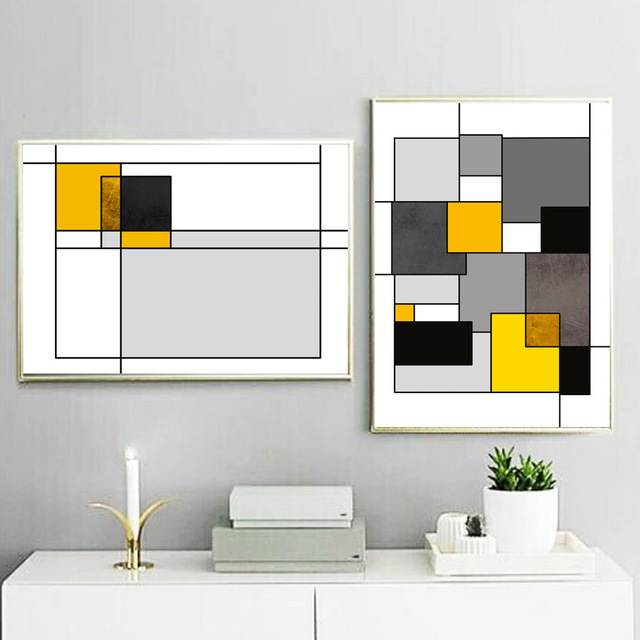 Geometric Square Wall Art Canvas Painting