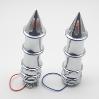 2PCS 25mm Chrome Aluminum Motorcycle Spiked Skeleton Turn Signals Bar Ends Hand Grips Billet Grips Cruiser