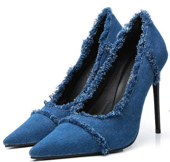 Cm on Hot Heels Sexy Blue 11 Flach Spitz Blau Fashion Leinwand Pumpen Schuhe Slip Dünne Frauen OqwOaCxz
