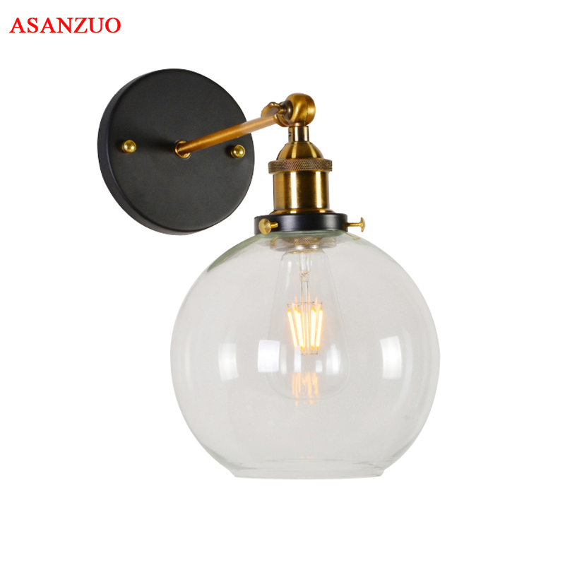 Loft Vintage Industrial Edison Wall Lamps Clear Glass Lampshade Antique Copper Wall Lights  For BedroomLoft Vintage Industrial Edison Wall Lamps Clear Glass Lampshade Antique Copper Wall Lights  For Bedroom