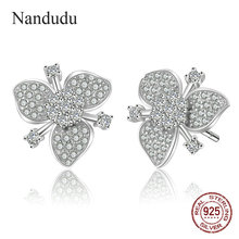 Nandudu NEW 100% Genuine 925 Sterling Silver Flower AAA Clear CZ Stud Earrings for Women Fine Silver Brincos Jewelry Gift CE554