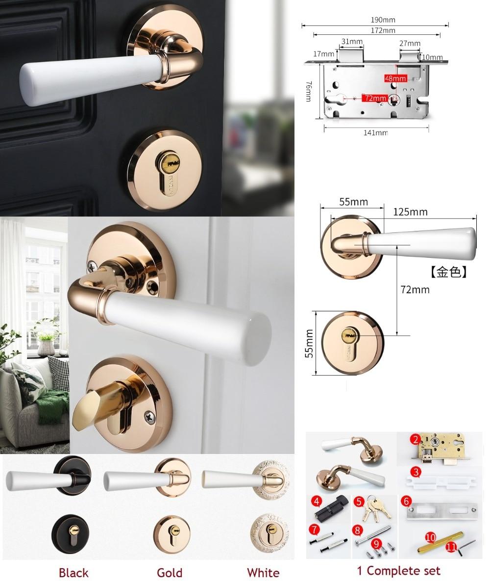 Interior Door Round Rosette Lock Set Ceramic Handle Locked Inside with Turn Thumb Thumb turn Gold
