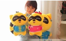 a pair of  lovely raccoon plush toys cute Tang suit raccoon doll girl and boy raccoon doll gift toy about 35cm