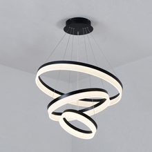 Silver/black/white Modern LED Pendant Lights for Living diningroom kitchen light fixture aluminum+Acrylic hanging Pendant Lamp modern led acrylic pendant light living led ring lights 60cm