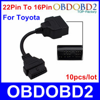 10pcs/lot 22Pin To 16Pin For Toyota OBD1 to OBD2 Connect Cable For Toyota 22 Pin To 16 Pin Connector Cable Free Shipping