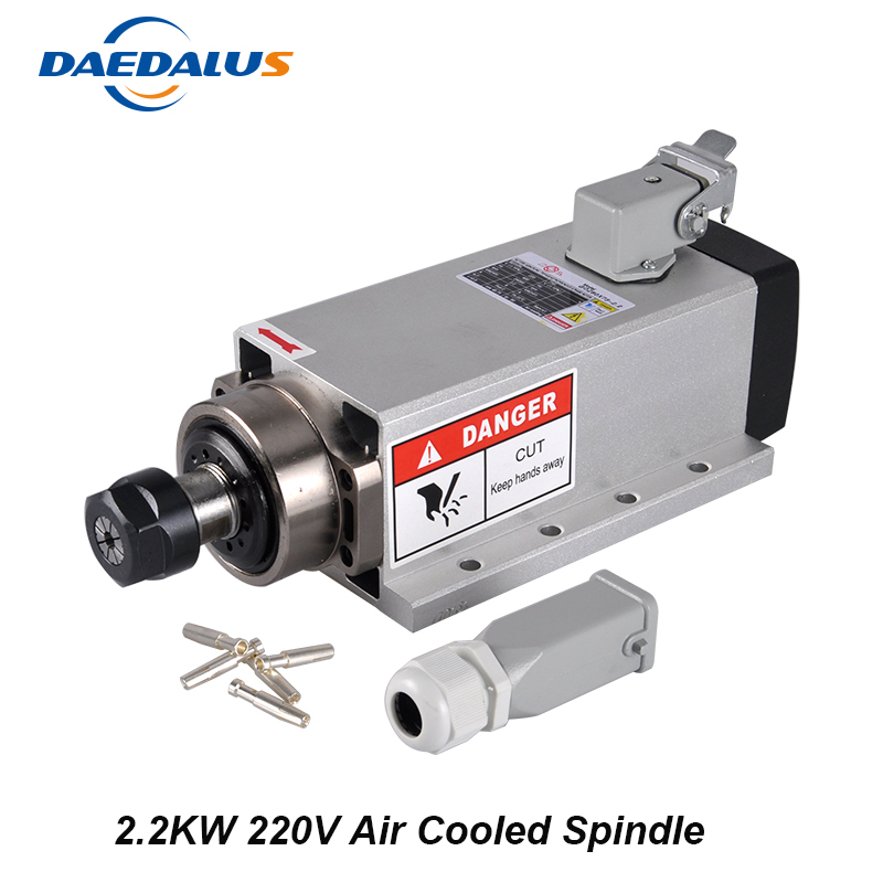 2.2KW Air Cooled Spindle Motor ER20 CNC Spindle 80mm Router Bit Tools 220V For Milling Machine With 4 Bearings free shipping cnc spindle 2 2kw 220v 110v air cooled spindle motor machine 80mm er20 collet router tools for milling