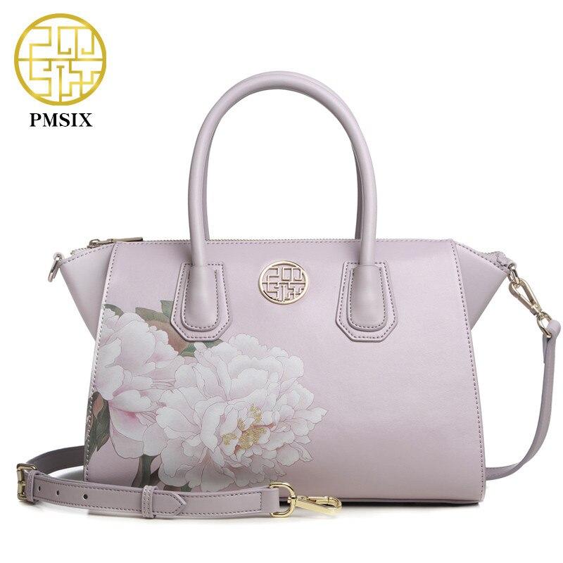 Pmsix 2018 pink bat package Luxury Handbags Women clutch Bags Designer flowers Printing Ladies Crossbody Shoulder