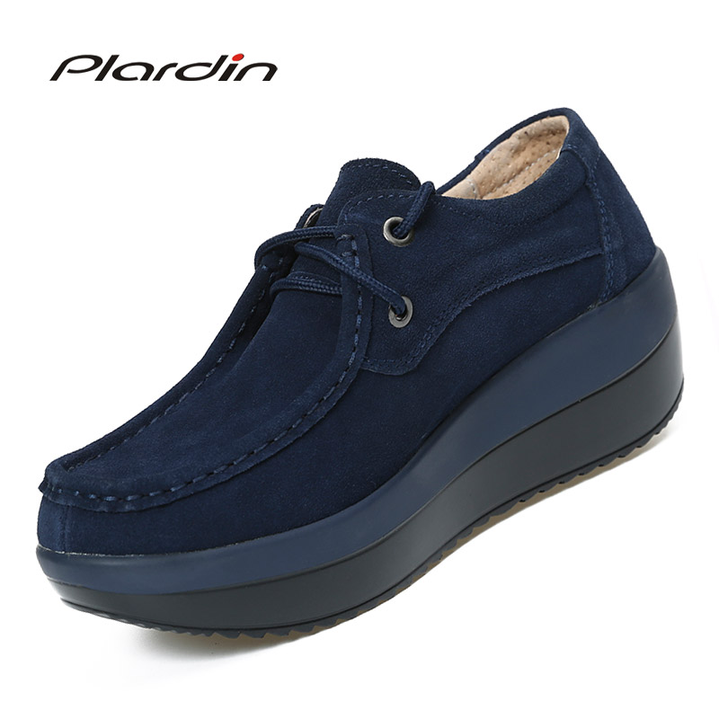 Plardin Women Flats Platform Shoes   Suede     Leather   Lace Up Women Moccasins Creepers Slipony Female Casual Summer Shoes Ladies