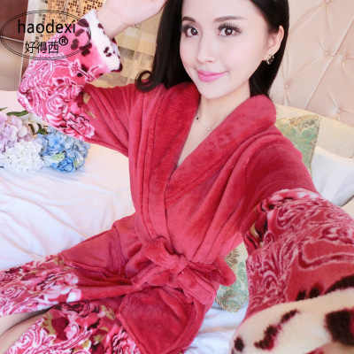 Thickening Flannel Winter Robe Sexy Robes For Women Bathrobe Dressing Gowns  For Women Bathrobes Peignoir Femme 506294ee1