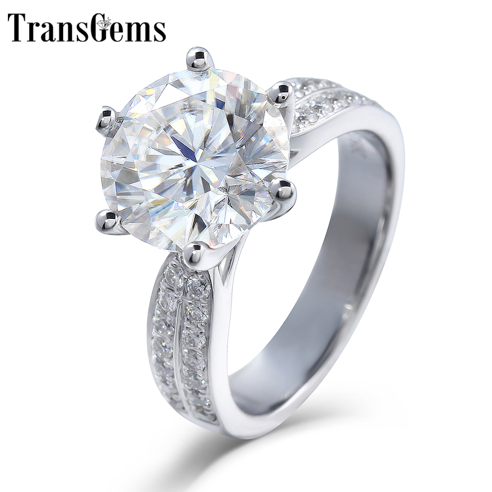 TransGems 2.5CT Carat 8.5mm F Color VVS Moissanite Engagement Ring for Women Solid 14K 585 White Gold Ring wiht Accents in Band punk style solid color hollow out ring for women