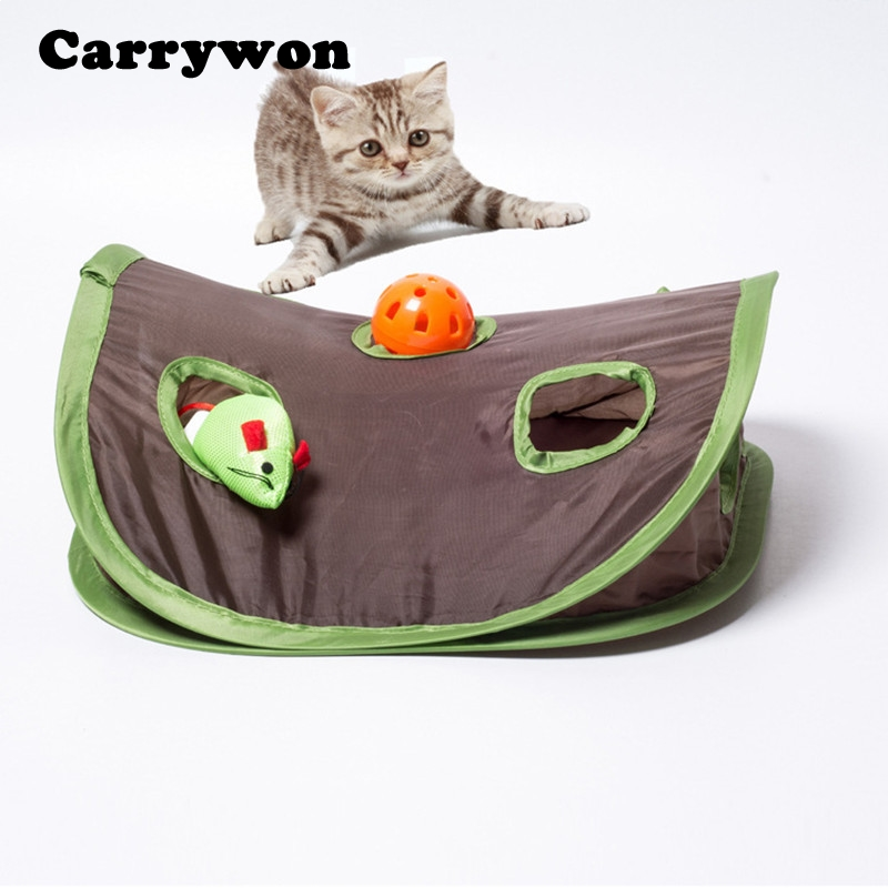 Carrywon Multifunction Pet Cat Toy Kitten Interactive Play Toys With Bell Mouse Folding Toys Small Pets Hidden Hole Pet Supplies