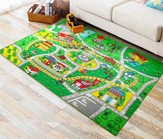 Large Size Kids Rug With Non Slip Backing 51 X 75 Learning Carpet