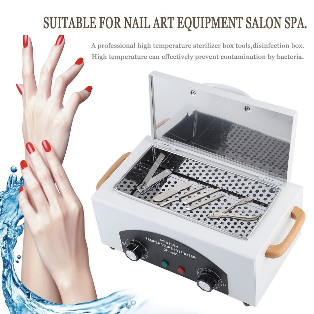 Russian Cleaner High Temperature Sterilizer Box Nail Art Salon Portable Sterilizing Manicure Nail Beauty Tool EU Plug 12pcs sterilizer pot salon nail tattoo clean metal watches gem tool equipment ultrasonic autoclave cleaner free shipping