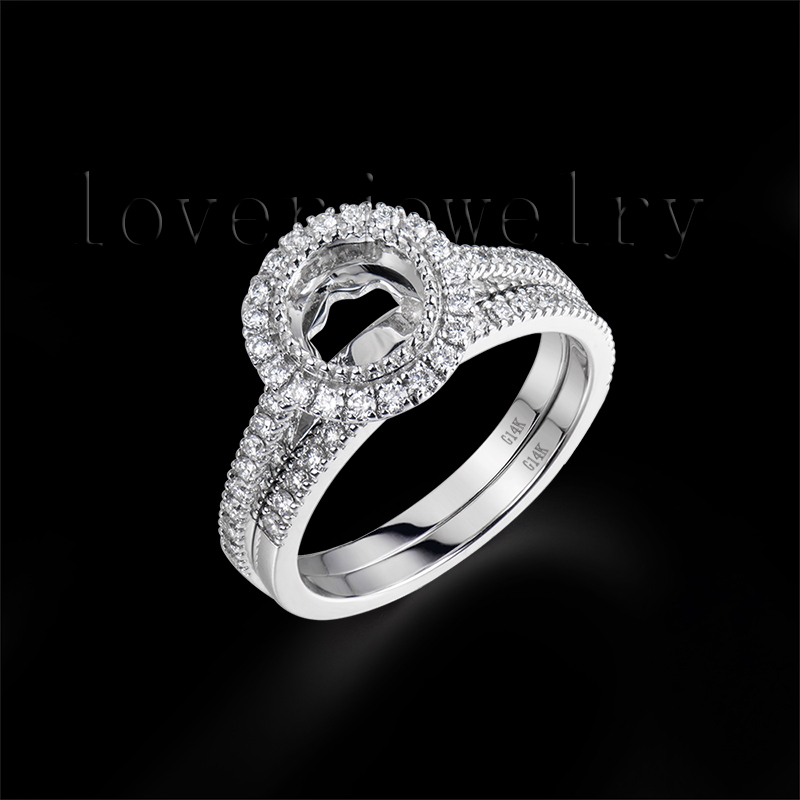 Round 6.5mm 14Kt White Solid Gold Semi Mount Ring Mounting With Band,Setting Ring Band For Sale SR00180