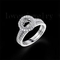 Round 6 5mm 14Kt White Solid Gold Semi Mount Ring Mounting Diamond Setting Ring Semi Mount