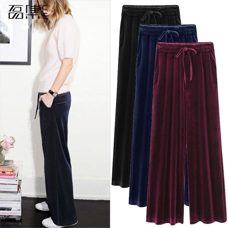 Winter Trousers Women Golden Velvet Plus Size High Waisted Loose Casual Full Length Drawstring Pleuche   Wide     Leg     Pants