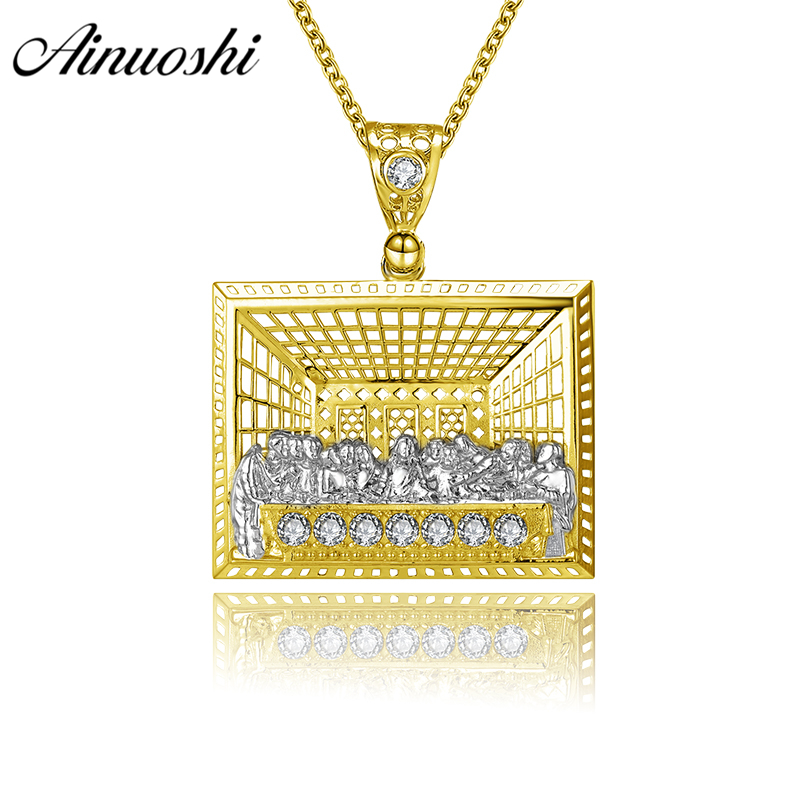 AINUOSHI 10K Solid Yellow Gold Jesus Pendant Last Supper Christ Disciples Priests Christian Gold Jewelry 5.4g Separate Pendant