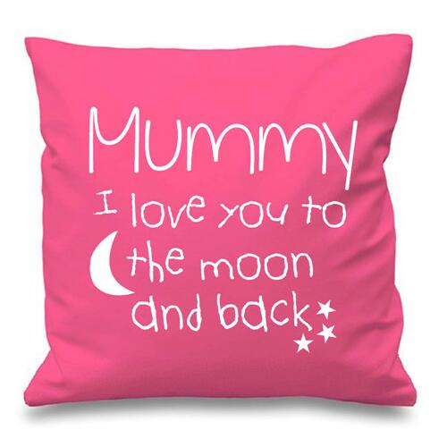 Mummy I Love You To The Moon And Back Quote Cushion Cover Pillow
