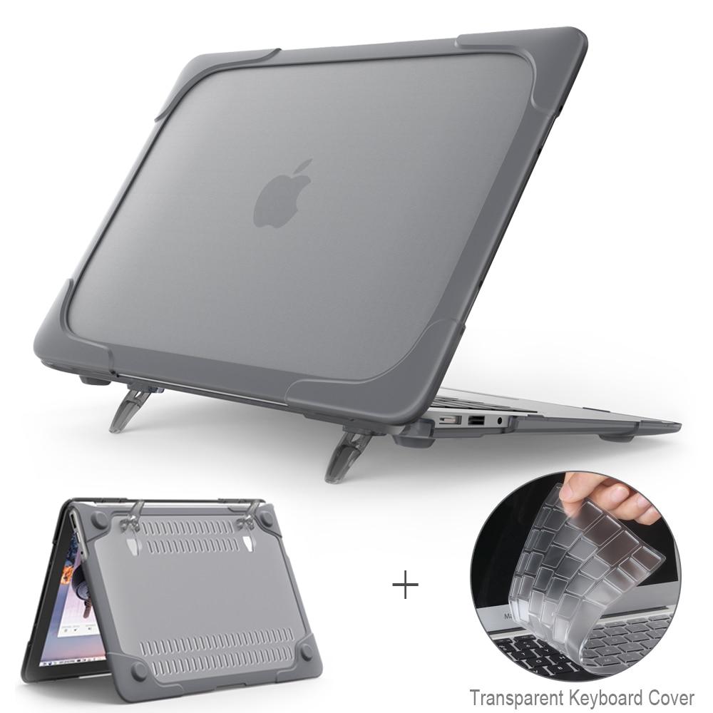 Nova capa exterior à prova de choque caso dobrável suporte para macbook air pro retina 11 12 13 15 polegada com barra toque + teclado capa
