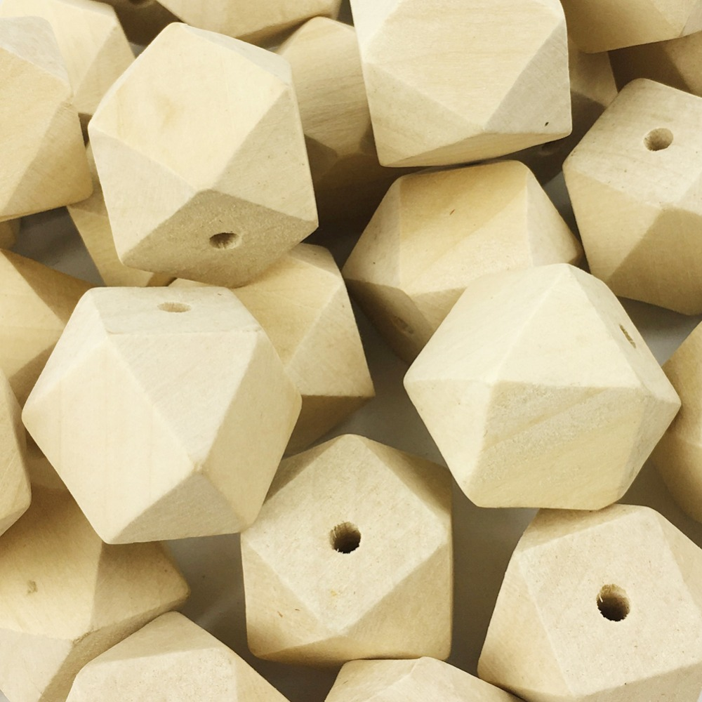 PINJEAS big geometric wooden beads(30mm 10pc)faceted Figure ...