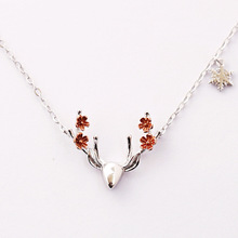 Daisies Hot Sale Design Sterling Silver 925 Necklace Flower Deer Antler Pendant Necklace Christmas Jewelry Gift