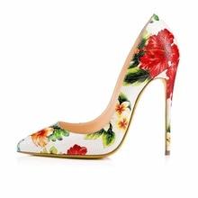 2016 Nouvelle Fleur De Mode En Cuir Bout Pointu pompes Stiletto Slip-sur Haute Talon Pompes Grande Taille Femmes Chaussures pour partie Chaussures