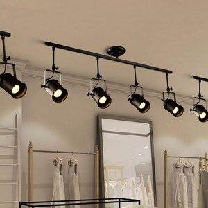 Image 4 - בציר תקרת אור שחור ברזל LED תקרת מנורת תעשייתי מסלול מנורת בגדי רטרו רכבת ספוט אור luminaire מטבח מתקן