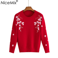 NiceMix Knitted Pullover Sweater Women 2019 Autumn Winter Elegant Flower Embroidery O neck Pullovers Female Cotton Sweaters