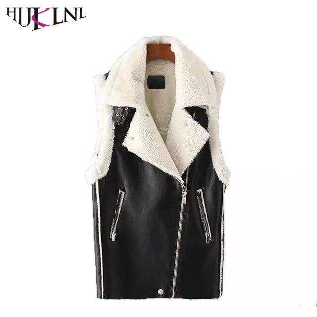 dbd2adf5b121bf HIJKLNL colete mulheres Womens Autumn Winter Lambswool Vest Retro Black  Faux PU Leather Long Waistcoats Sleeveless
