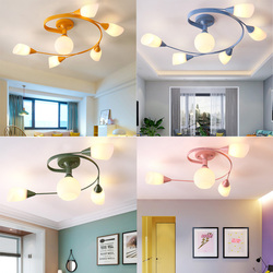 Macarons lampa sufitowa proste nowoczesne ciepłe romantyczny pokój ślub sypialnia E27 lampy osobowość twórcza kolor lampa dla dzieci pokój w Oświetlenie sufitowe od Lampy i oświetlenie na