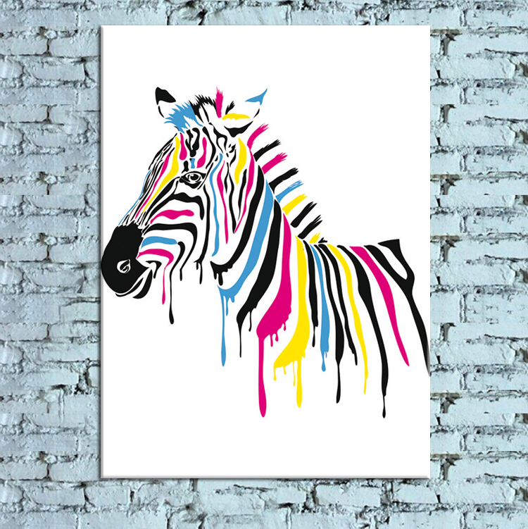 modern new idea designcolorful zebra canvas print painting wall art picture looking like the original oil painting in painting calligraphy from home
