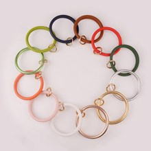 2019 New Southern Fashion Women O Chain 12 Colors PU Wrap Printed Key Ring Wristlet Gift for Ladies