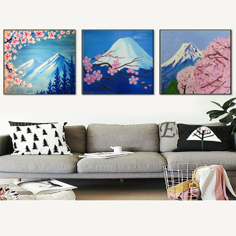 Japanese Cherry Blossoms Fuji Canvas Painting Posters And Prints For Living Room No Framed Wall Art Picture Home Decor On Sale