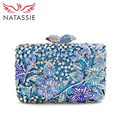 NATASSIE Women Crystal Clutches Fashion Party Blue Bags Ladies Evening Clutch Bag Female Flower