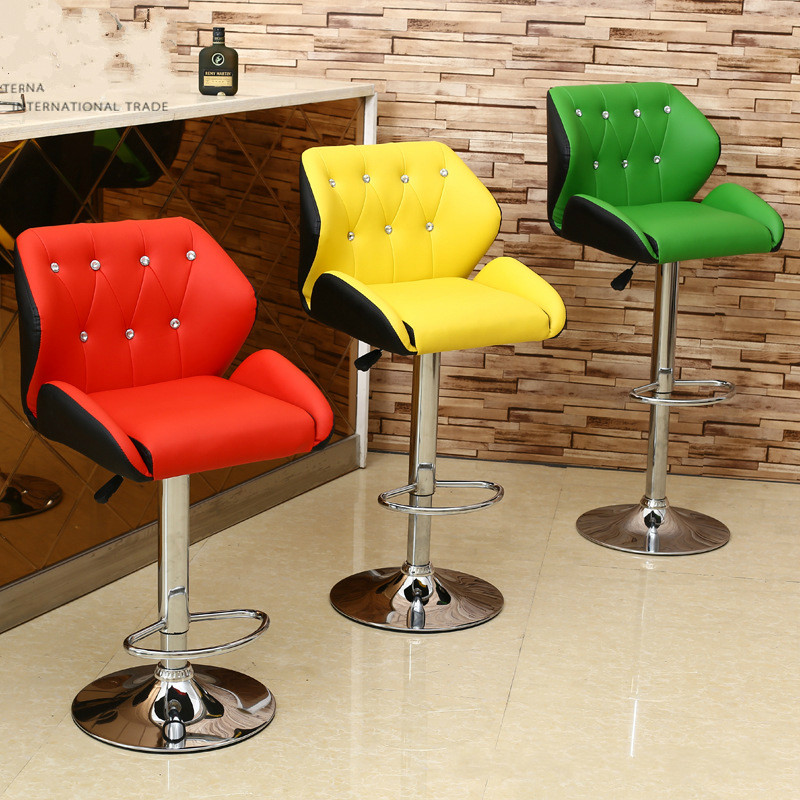 Bar Furniture Bar Chairs Learned High Quality Ergonomic Short Lifting Swivel Chair Rotating Adjustable Height Pub Bar Stool Chair High Density Sponge Cadeira