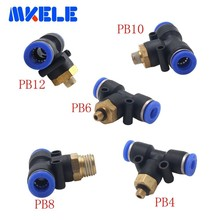 Pneumatic fitting PB Series T-type external thread 4mm/6mm/8mm/10mm/12mm Connector  joint free transportation 1 pcs