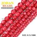 Grânulos do Escudo vermelho de Alta qualidade Natural de Conchas Do Mar de Pedra Tingido rodada Solta pérolas bola 4/6/8 MM pulseira de contas para fazer jóias DIY