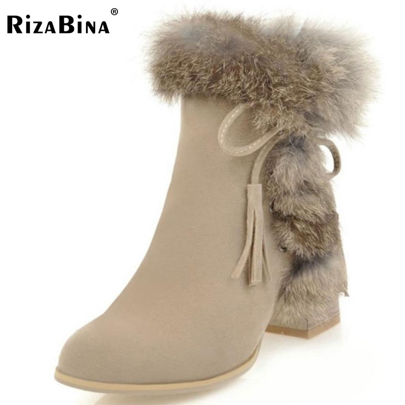 RizaBina Size 34-43 Women Mid Calf High Heel Boots Bowtie Thick Heel Boots Women Winter Shoes Warm Fur Botas For Woman Footwears double buckle cross straps mid calf boots