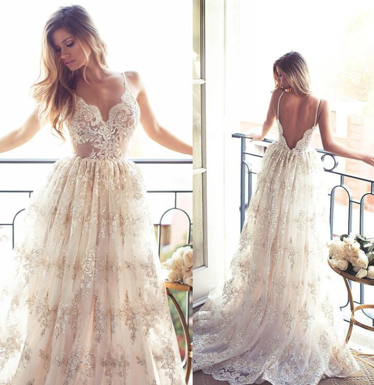 4a67b7fba4 US $156.0 |Robe de Mariage Sexy Open Back Bohemian Beaded Vintage Boho  Beach Wedding Dress 2017 Romantic Wedding Bridal Gowns-in Wedding Dresses  from ...