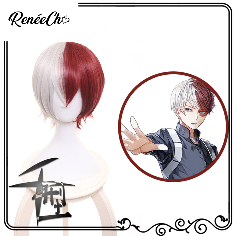 New High quality Shoto Todoroki Anime Cosplay Wig My Hero Academy Costume Play Wigs Halloween Costumes Hair Free Shipping Gifts
