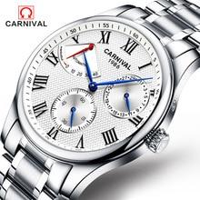 Мода часы мужчины Power reserve серебряный Нержавеющей стали Автоматические механические Сапфир водонепроницаемый белый часы relogio masculino
