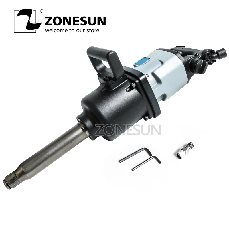 цена на ZONESUN 90 Blade Industrial Pneumatic Wrench Pinless Hammer Structure 3500N.M Heavy Duty 1 Pneumatic Wrench Air Impact Wrench