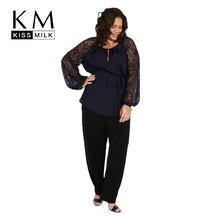 Kissmilk плюс Размеры полупрозрачная лоскутное Кружева Latern рукавом Женщины блузка о Средства ухода за кожей Шеи Повседневная Кружева до талии блузка большой Размеры Блузка