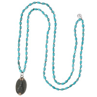 KELITCH Long Strand Necklace Buddha Pendant Necklace Natural Stone Beads Chain Handmade Knoted Praying Necklace Ethnic Jewelry
