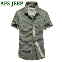 AFS JEEP Men S Bright Color Cotton Young Men Shirts Office Short Sleeve Brand High Quality