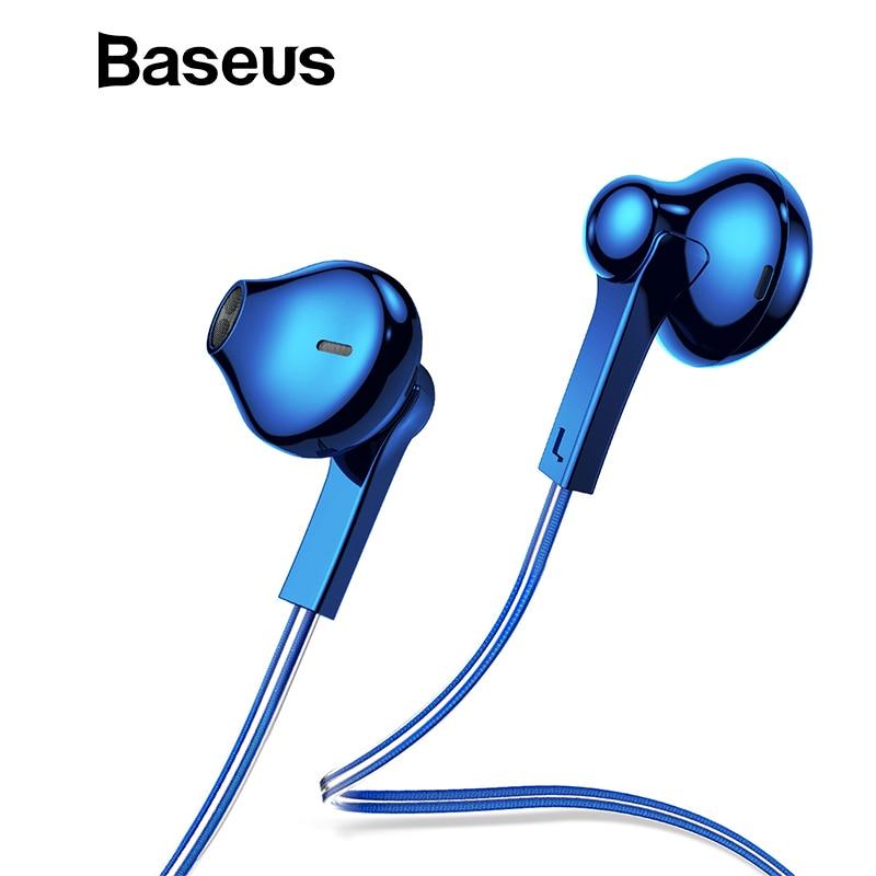 Baseus H03 oreja chapado colorido auricular, sonido estéreo bajo auriculares Kulakl K fone de ouvido con micrófono para teléfono móvil