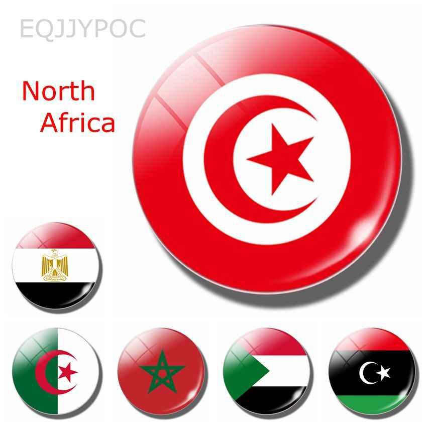 Noord Afrika Sultan Libië Marokko 30MM Magneet Tunesië Vlag Tunis Mahdia Gafsa Glas Dome Magnetische Koelkast Stickers