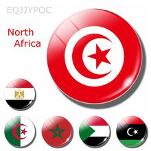 The Republic of Tunisia Flag 30 MM Fridge Magnet Glass Dome Magnetic Refrigerator Stickers Note Holder Home Decoration